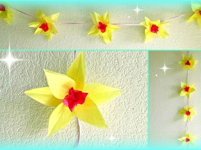 DIY Flower Decorations! Paper Daffodils Garland!