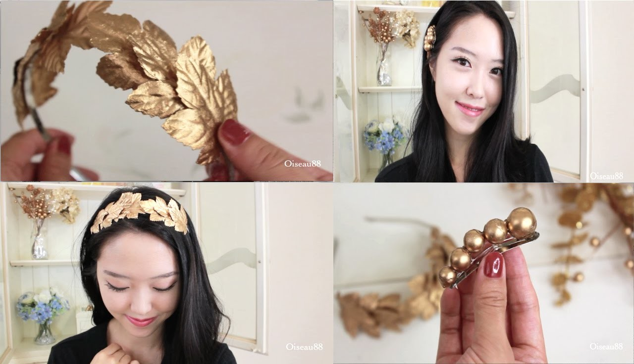DIY Hair Accessories ♥ Gold Leaf Headband and Hair Clips