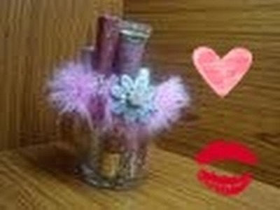 ♥ DIY LipGloss.Makeup Brush Holder Tutorial ♥ ( • ◡ • )
