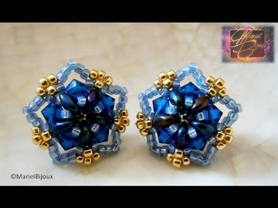 DIY - Tutorial - Orecchini a perno con superduo e swarovski (stud earrings)-stella blu.wmv