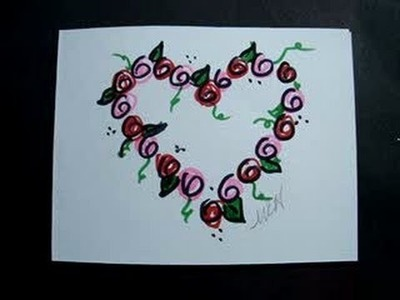 DIY VALENTINE CARD, Last Minute Valentine, Rosebud Wreath heart outline card.