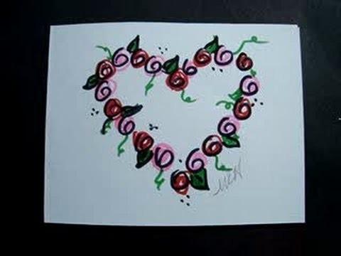 DIY VALENTINE CARD, Last Minute Valentine, Rosebud Wreath heart outline card.
