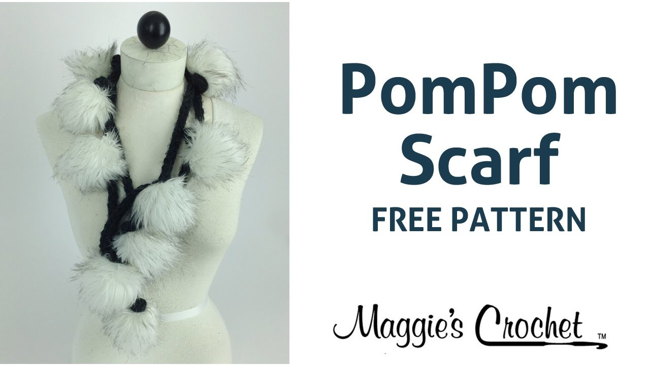 Faux Fur PomPom Scarf Free Crochet Pattern - Right Handed