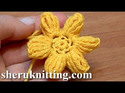 How To Crochet Flower Popcorn Stitches Tutorial 41 Part 3 of 3 łatwy kwiatek szydełkowy