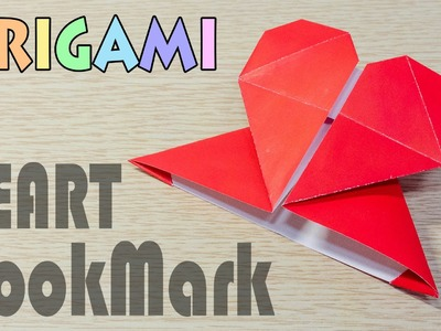 Origami Heart Bookmark : How to make a pape corner folding tutorial