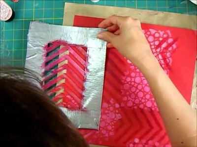 Scrapbook Process - Paint and Gesso stencil background for chalkboard embellishments