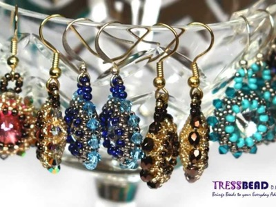 Swarovski rivoli beaded drop earrings