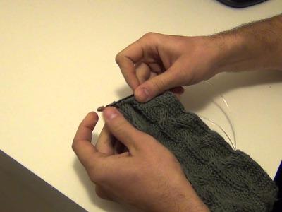 Tunisian crochet cabling using one bobby pin