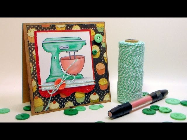 Vintage Mixer Card with Coloring Tutorial for Mothers Day