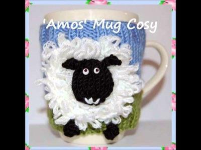 Amos Sheep Lamb Animal Farm Yard Mug Cup Cosy Warmer DK Yarn Knitting Pattern