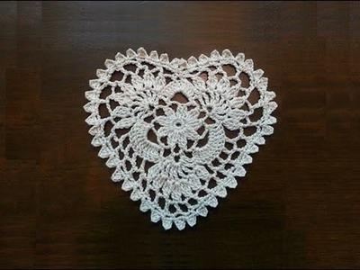 Crochet Heart Mini Doily Part 1