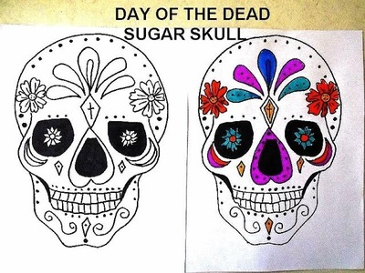 DAY OF THE DEAD, SUGAR SKULLS, free download coloring page, DIY Sugar Skull Room Decoration