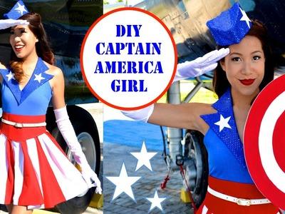 DIY Captain America Costume- USO Girl- No Sew!