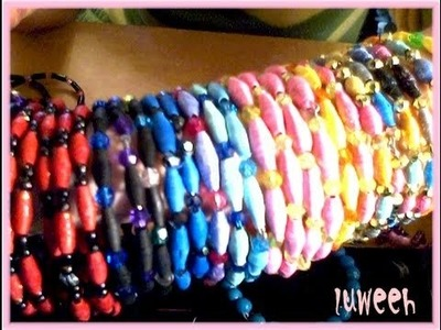 Finished Work. Paper Beads Bangle Bracelets