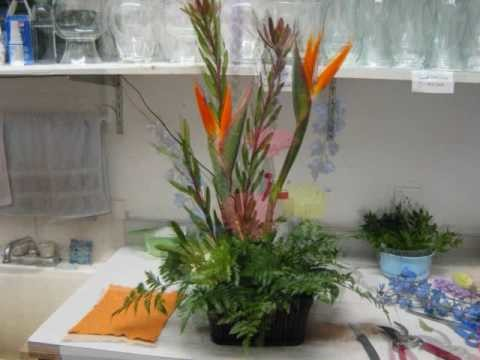 Fresh Tropical High Style Flower Arrangement with Bird of Paradize