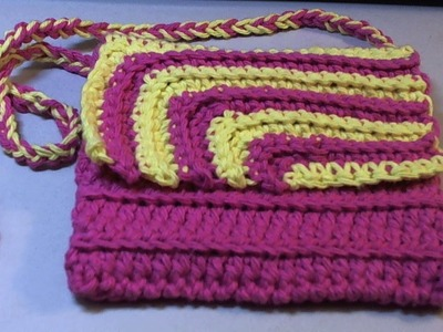 Fun and easy 2 color #Crochet Contrasting crochet purse