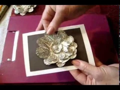 Handmade card, glittery newsprint flower - Book Page Flower - diy greeting cards