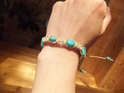Hemp Bracelet tutorial with sliding clasp - Turquoise & Crystal Cube Macarme Bracelet