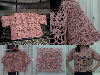 How To Crochet Granny Square Crop Top Part 3 of 4 (Granny Square Pattern #4)