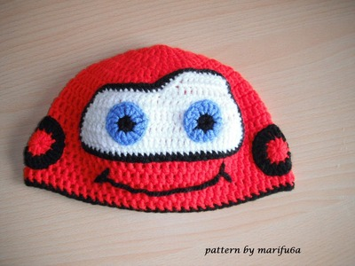 How to crochet hat McQueen car free pattern tutorial all sizes
