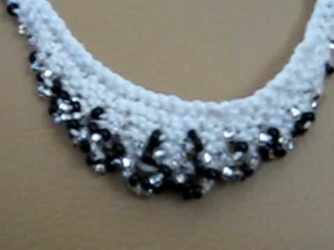 The finished scallop-edge beaded necklace