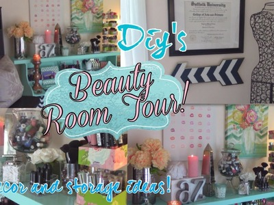 BEAUTY ROOM TOUR!  DIY's, storage solutions and innovative decor ideas!