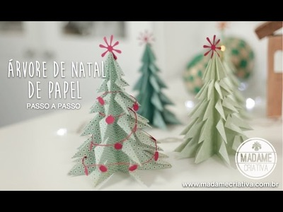 Como fazer Árvore de Natal 3D com Papel - How to Make a 3D Paper Xmas Tree - EASY DIY