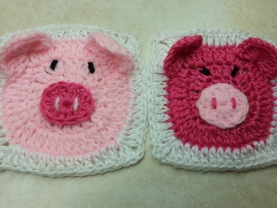 #Crochet Cute Piggy Granny Square #TUTORIAL easy Crochet Tutorial