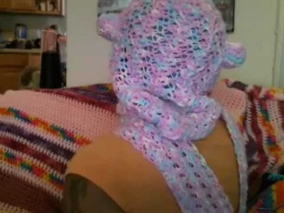 Crochet Scoodie THIS IS NOT A TUTORIAL (scarf hoodie or hooded scarf with ears)