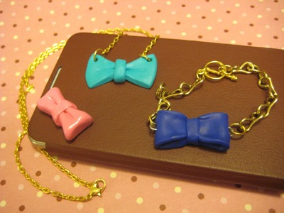 (DIY) How to make bow necklace, bracelet, and phone cover decor.