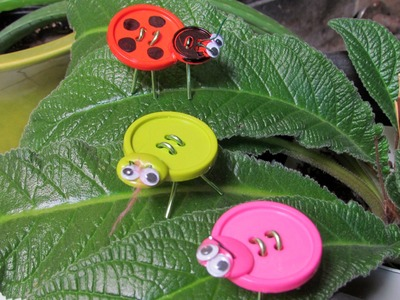 How to make a lady bug from buttons Craft Bug toys or decoration idea