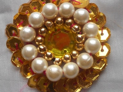 HOW TO SEW A KUNDAN & PEARL BEADED SEQUINED FLOWER