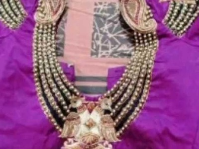 Indian bridal sari wear necklace shape neck design  with beads & work for  party wear