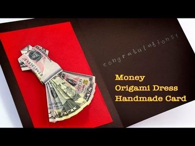 Money Origami Dress Handmade Card For a Congratulations!