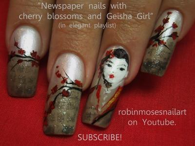 Nail Art Design - Geisha Newspaper Nails DIY Tutorial