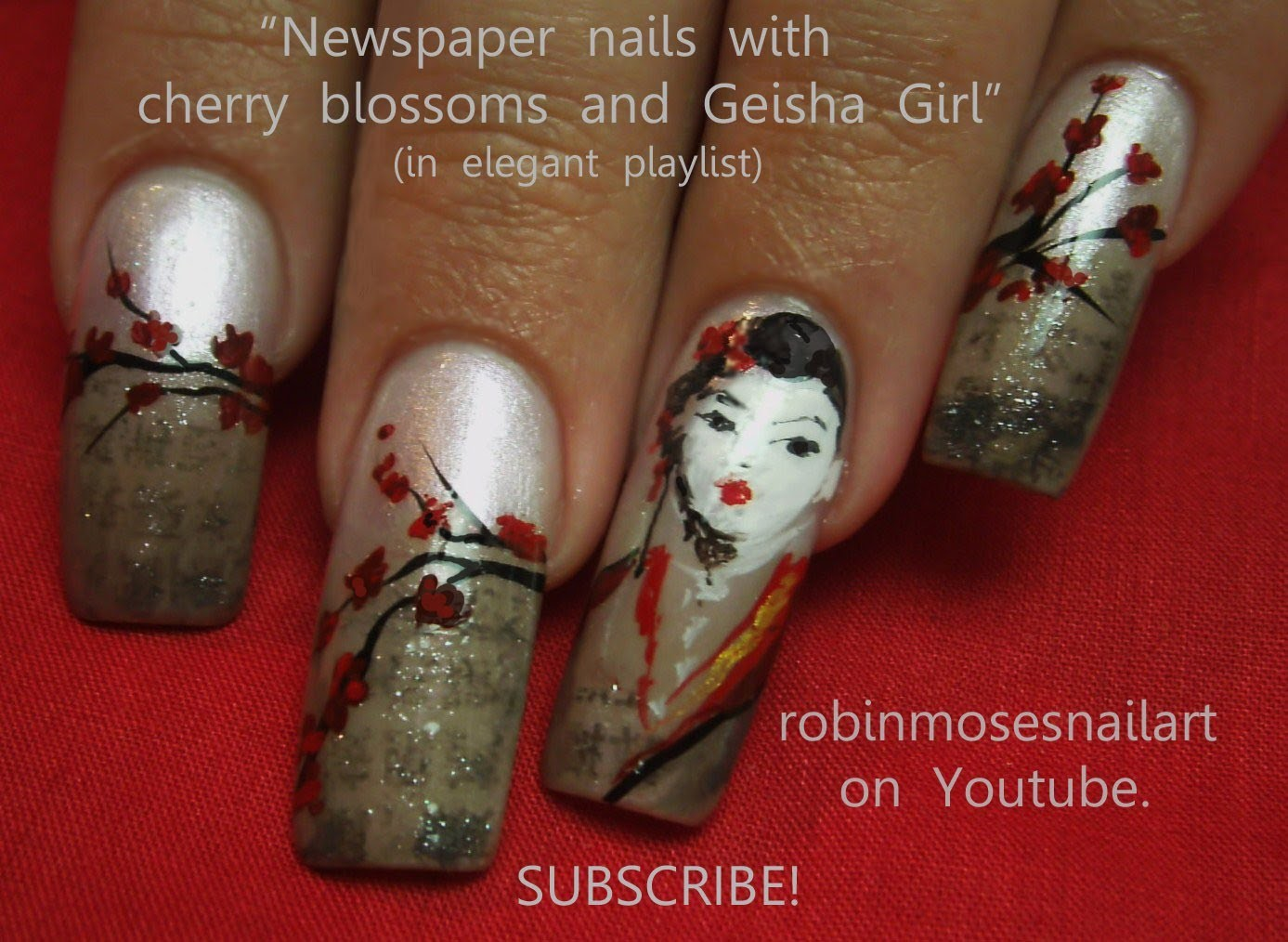 Nail Art Design - Geisha Newspaper Nails DIY Tutorial