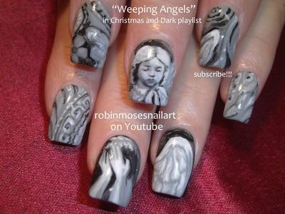 Nail Art Tutorial | Doctor Who Nails | Weeping Angels Nail Design