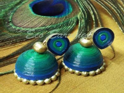 Paper earrings,Jhumkas making,origami paper,handmade earrings