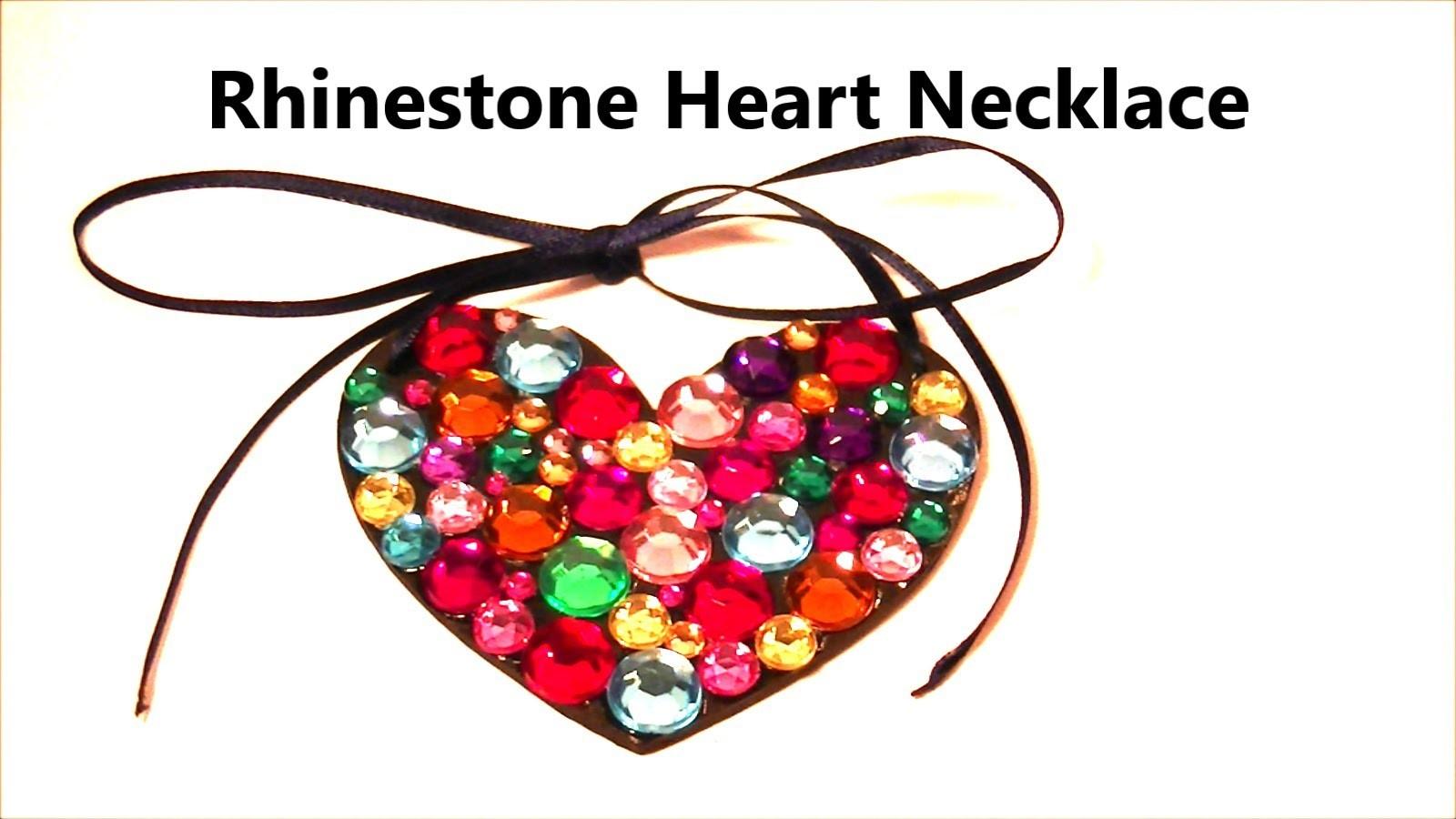 Rhinestone Heart Necklace | DIY Jewelry by Craft Happy