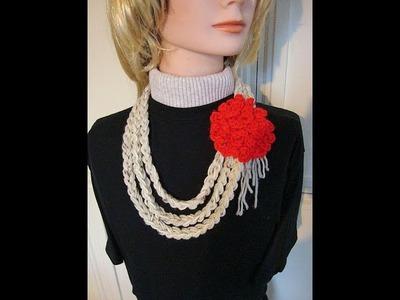 3 strand crochet necklace.
