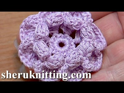3D Crochet Flower Popcorn Stitches Inside Petals Tutorial 42 Jak Crochet kwiatek