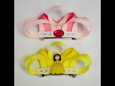 "4"" PRINCESS TIARA Crown Ribbon Sculpture Girls Hair Clip Bow DIY Free Tutorial by Lacey"