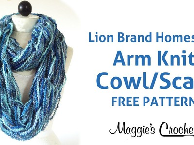 Arm Knit Cowl Infinity Scarf with Lion Brand Homespun Yarn - Right Handed