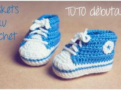 Baskets Converse au crochet (Taille naissance à 12 mois) Partie 1.2 TUTO pour débutants