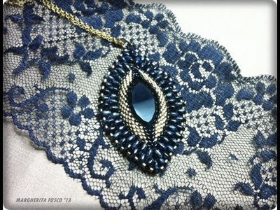 Bead DIY video tutorial  Victorian Decadence pendant| swarovski  superduo and delica beads