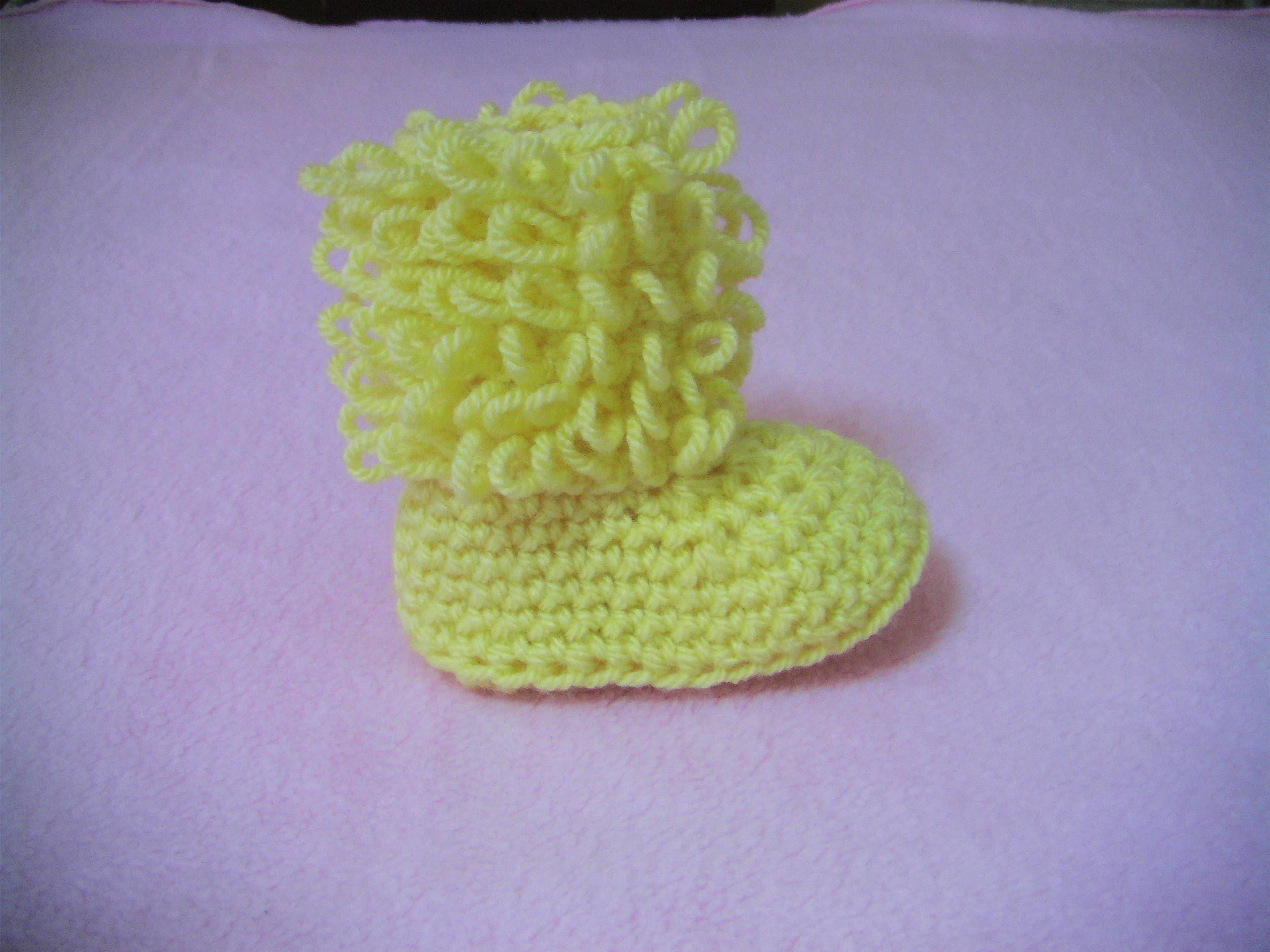 Πλεκτα Μποτακια. Loop Stitch Booties Crochet Tutorial