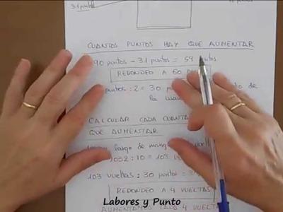 Como calcular puntos y aumentos en mangas rectas para dos agujas, ganchillo o crochet