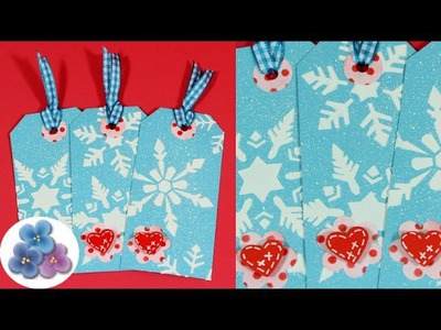 Como hacer Tags de Navidad 3D *3D Christmas Tags* DIY video Tutorial Scrapbook Español Pintura Facil