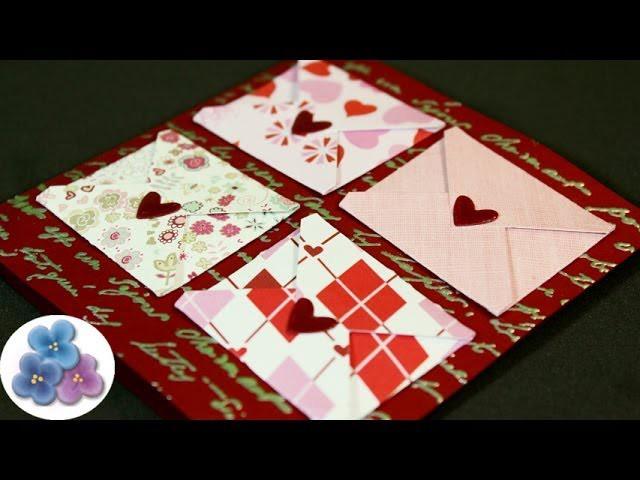 Como hacer Tarjetas de Amor para San Valentin DIY Card Making tutorial Scrapbook Pintura Facil