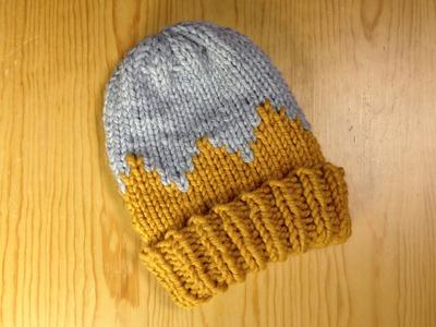 Cómo tejer en telar un gorro con picos bicolor para niño (Tutorial DIY)